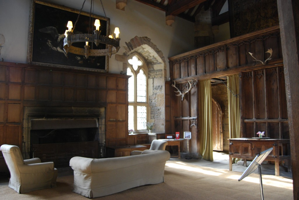 Late medieval hall, Haddon Hall, Derbyshire, showing later fireplace and chimney
