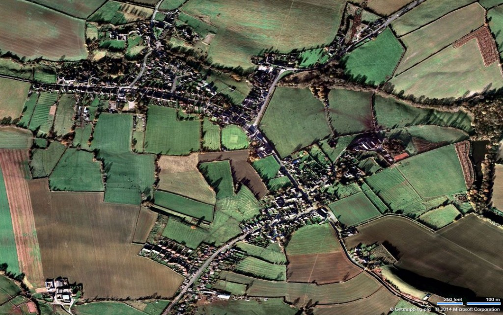 Upper Hall (south-east: bottom left) and Nether Hall (north-west: top right) sectors of the village (image: Bing Maps). Note the medieval fields ridge and furrows (wide s-shaped  rows of earth) in fields around the village (narrower, straighter ridges usually date to a later period).