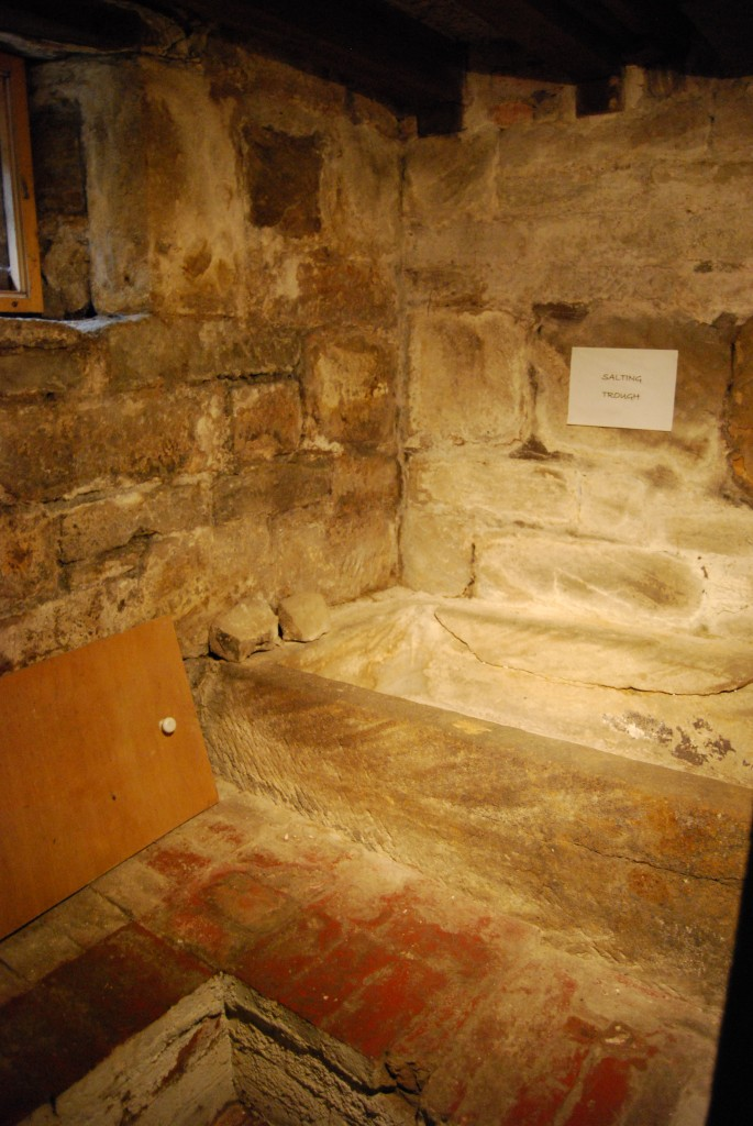 Salting trough, in cellar room, above brick thralls