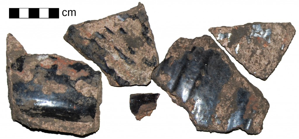 Black-glazed coarse red earthenware sherds - from (a) possible milk pan(s) and / or bowls - found in the topsoil of Upper Hall garden